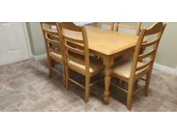 Solid oak dining table and 6 chairs not glass table marble mahogany pine beach metal