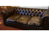 Very well loved Chesterfield 3 seater leather sofa. Free to a good home