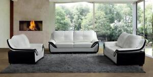 LORD SELKIRK FURNITURE - Pearl 3Pc Couch Set - Sofa, Loveseat and Chair - White & Black - $1599.00