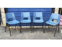 Set of 4 blue plastic seat black metal legs stackable