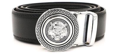 (Men's Designer Leather Silver Gold Lion Tiger Head Sliding Buckle no-hole Belt)