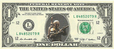 Boba Fett (Star Wars)  {In Color} Crisp, New Dollar Bill  - REAL MONEY