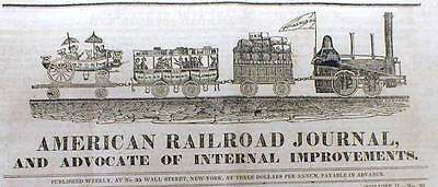 Rare original 1833 American Railroad Journal wDETAILED ENGRAVING Passenger train