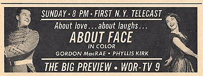 1964 TV Talking picture AD~PHYLLIS KIRK & GORDON MACRAE in ABOUT FACE~WOR NEW YORK PROMO