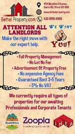 PROPERTIES WANTED! We have 5 times more tenants than properties!