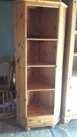 Antique pine corner display unit with shelves - wired for lights and has glass door