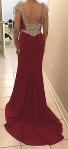 NEW Red Beaded Formal Evening Dress w/ Train - Size 6 - $180.00