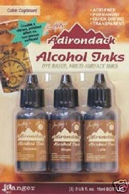 Ranger Tim Holtz ADIRONDACK ALCOHOL INKS CABIN CUPBOARD - Caramel, Ginger, Latte