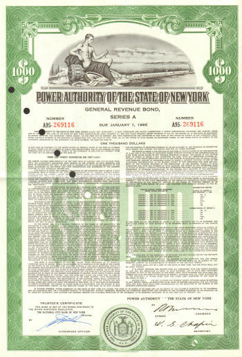Power Authority of the State of New York $1,000 general revenue bond certificate