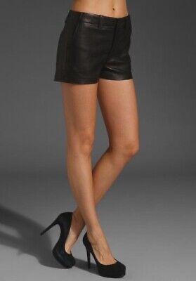 J Brand Lamb Leather Shorts Size 25 Black Mini Short Womens Lambskin