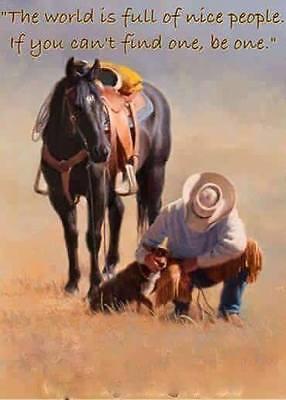 "Horse and cowboy refrigerator magnet 2 1/2  ""X 3 1/2 """