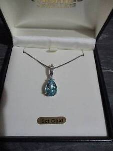 9ct Yellow Gold Rhodium plated Blue topaz and Diamond enhancer Wagga Wagga Wagga Wagga City Preview