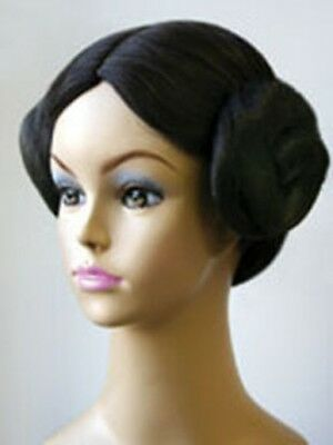 STAR WARS PRINCESS LEIA ORGANA COSTUME WIG W/ TWO BUNS DARK BROWN ANIME DELUXE