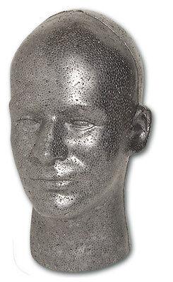 Styrofoam Mannequin Graphite Male Head 12 Tall 1-head