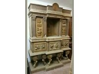 Large Hand Carved Gothic Style Cabinet