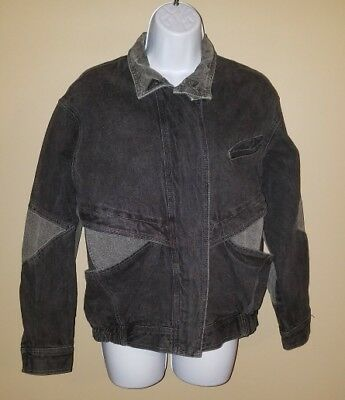 Jordache Vintage 80's Black Denim Jean Jacket Retro Women's Size Medium M - #AJ