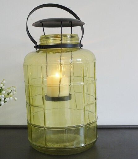 Large+Quality+Green+Glass+Garden+Patio+Fireplace+Lantern+Candle+Holder+Light+