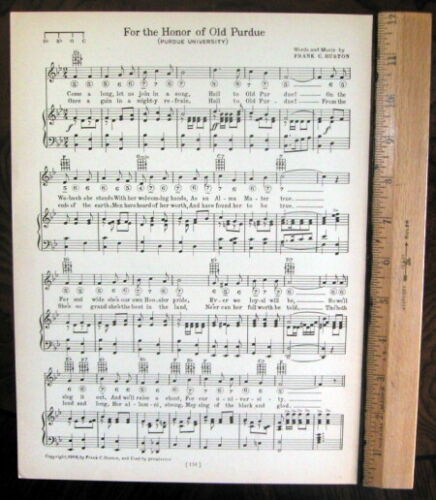 """PURDUE UNIVERSITY Vintage Song Sheet c1929 """"For the Honor of Old Purdue"""""""