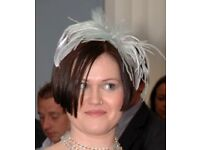 Silver & Pale Green Feather Fascinator with Gems