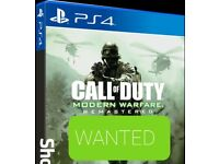 WANTED CALL OF DUTY MODERN WARFARE REMASTERED PS4