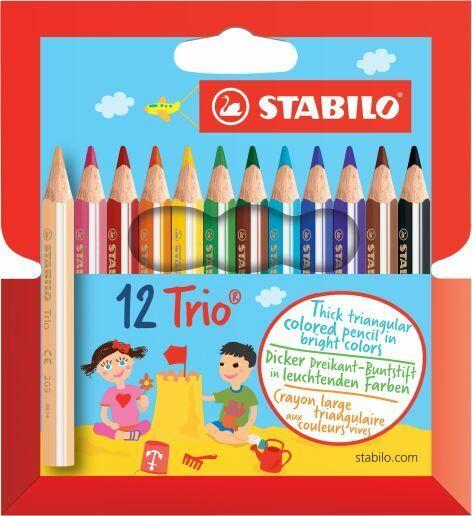 12 x Stabilo® Dreikant-Buntstift Stifte Trio Malstift 90mm 12 Farben KURZ