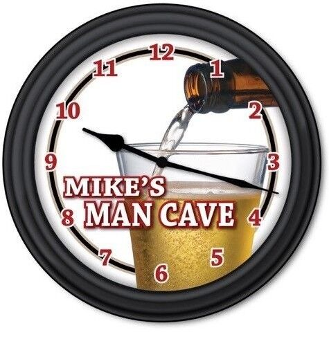 Beer Man Cave PERSONALIZED Wall Clock Bar Pub Garage Bottle