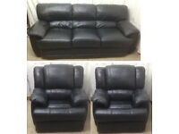 excellent condition Black leather 3+2 single seater sofas