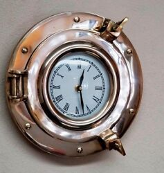 9 Brass Porthole Clock ~ Ship Porthole Clock~ Nautical Navigation Marine Clock