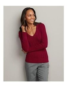EDDIE BAUER womens V-neck Cable Sweater XS,S,M,L,XL   REG-TALL-PETITE   New Nwt