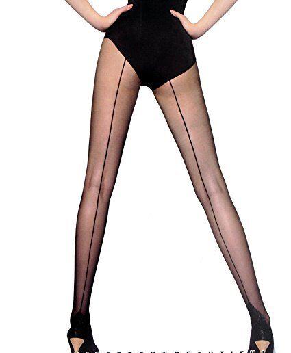 Damen Strumpfhose mit Naht am Hinterbein Pantyhose Stockings Schwarz  One Size