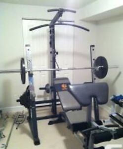 Nautilus Half rack lat pull low pulley row plate holder bench