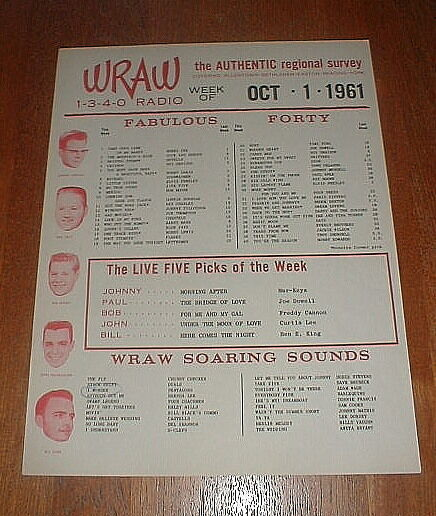 WRAW Orig 1961 Reading Allentown PA TOP 40 Music Survey w Dion Runaround Sue NM-