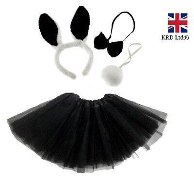 Kids BLACK EASTER BUNNY Fancy Dress Costume TUTU EARS TAIL BOW Accessory Set UK