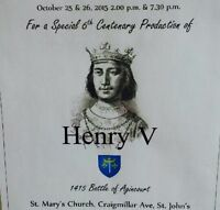 *Characters needed for production of Shakespear's Henry V*
