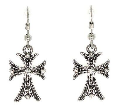 Cross Christian Religious Jesus Son Antiqued Silvertone Crystals Earrings #360-D