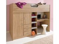 Cabin bed with drawers wardrobe and desk