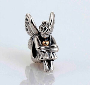 LITTLE PIXIE w WINGS Antiqued .925 Sterling Silver European Charm Bead