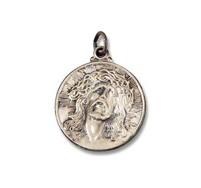 Medium Sterling Silver Round Flat Christ Head Face of Jesus Charm Medal Pendant