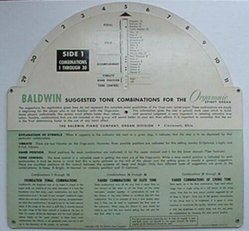 1955 BALDWIN ORGASONIC SPINET ORGAN TONE COMBINATIONS ROTATING CALCULATOR