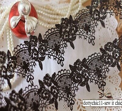 Beautiful Vintage Style Quality Guipure Embroidery ROSES Black Lace Gothic 1.0M