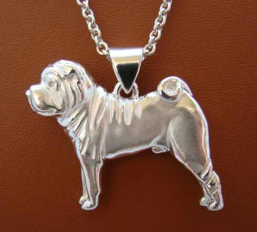 Large Sterling Silver Shar Pei Standing Study Pendant