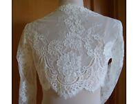 Beautiful LACE WHITE Bridal Bolero- Size 12