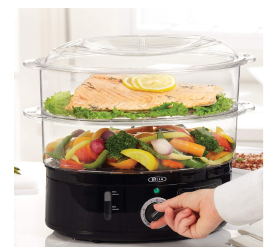 BELLA 7.4 Quart Healthy Food Steamer with 2-Tier Stackable B