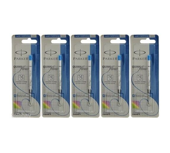 5XPARKER QUINK FLOW BALL-POINT BALL PEN BP REFILL MEDIUM (BLUE) - FREE SHIPPING