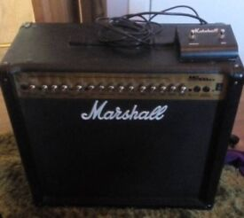 Marshall MG100 DFX guitar amplifier with foot switch