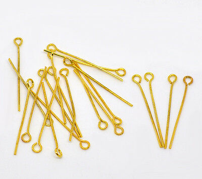 100 Eye Pins Gold Plated 30mm x 0.7mm 21 Guage Jewellery Making Findings J01660