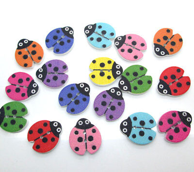 100pcs Mult-color Wood Buttons Cute Ladybug 2-Holes Craft Decoration (Wood Ladybug)