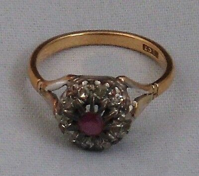 Antik Rubin Diamant Blüten Ring 750 gold ()