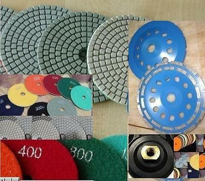 7 Inch Diamond Polishing Pad 22 Piece Cup Wheel Stone Concrete Granite Terrazzo