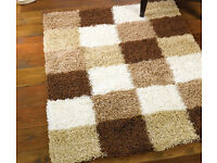 new brown and cream pattern check shaggy rug 120 x 170cm